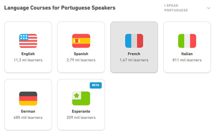 Seleção de idiomas no Duolingo Web.