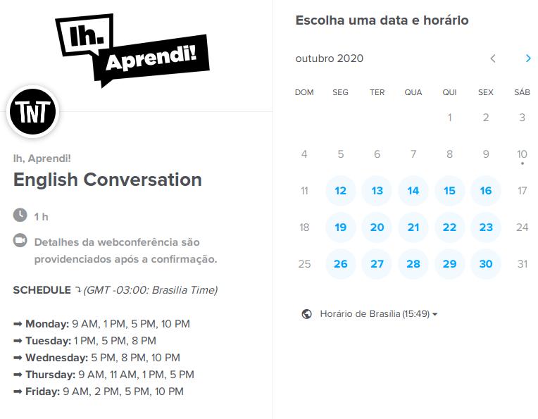 Agenda de grupos de conversação do TnT (Talk'n Talk)