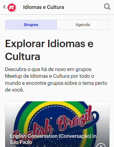 Print do site do Meetup da página de idiomas.