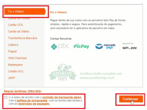 Tela de seleção de pagamento no site da Gol
